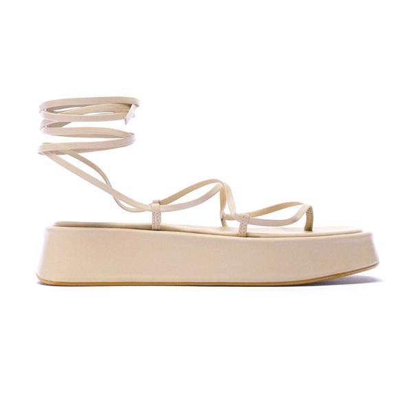 NWT Zara Tied Leather Platform Sandals